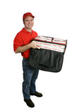 isolerad pizza för huvuddelleverans full Royaltyfria Foton