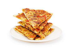 isolerad pizzawhite Royaltyfri Bild