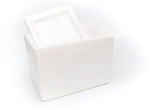Isolerad polystyrenlagringsask arkivfoton