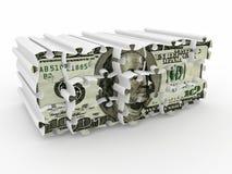 isolerad pusselwhite för bakgrund dollar Royaltyfri Bild