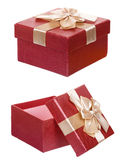 Isolerad röd ask för gåvapappgåva royaltyfria foton