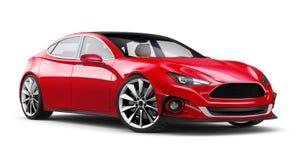 Isolerad röd bil- perspektivsikt Arkivbild