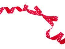 Isolerad röd bow för polkaprick Royaltyfria Foton