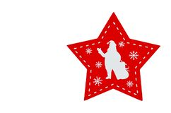 Isolerad röd fem-pekad stjärna med den vita konturn av jultomten fotografering för bildbyråer