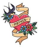 Isolerad röd hjärta för tatuering med bandet, svalan, blommor och ordmodern Vektorillustration för mors dag gammal skola royaltyfri illustrationer