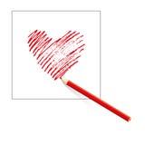 Isolerad röd hjärta som dras av den kulöra blyertspennan på arket av vitbok på vit bakgrund tecknad hand vektor illustrationer