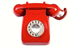 isolerad röd retro telefon Arkivbilder