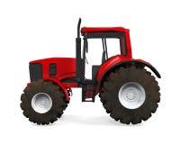 Isolerad röd traktor Fotografering för Bildbyråer