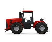 Isolerad röd traktor Royaltyfri Fotografi
