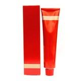 isolerad röd white för flaskask cosmetic Royaltyfri Foto