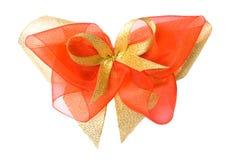 isolerad red för bow guld Royaltyfri Fotografi