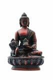 Isolerad religiös statyett för sammanträdeBuddhastaty Royaltyfria Bilder