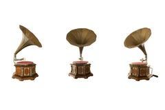 Isolerad Retro klassisk grammofon för att spela musik Royaltyfria Foton