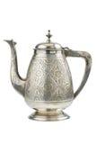 isolerad retro silverteapot för tillbringare Royaltyfri Bild