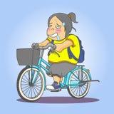 isolerad rida white för cykel flicka stock illustrationer