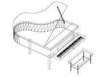 Isolerad ritning för piano 3D - Arkivbild