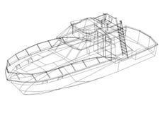 Isolerad ritning för yacht 3D - vektor illustrationer