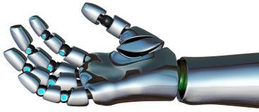 Isolerad robotCyborgAndroid hand Arkivfoton
