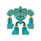 Isolerad robotstrid Cyborgkrigareframtid Vektor Illustratio stock illustrationer