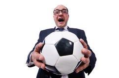 Isolerad rolig man med fotboll Royaltyfri Fotografi