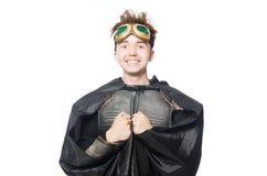 Isolerad rolig pilot med skyddsglasögon Arkivbild