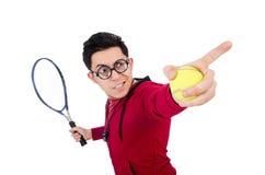 Isolerad rolig tennisspelare Arkivbild