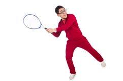 Isolerad rolig tennisspelare Fotografering för Bildbyråer