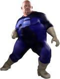 Isolerad rolig överviktig sjukligt fet Superhero Royaltyfria Bilder