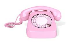 Isolerad rosa roterande telefon Royaltyfria Foton