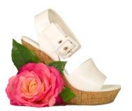 isolerad rose sko för pink Arkivbilder