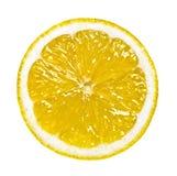 Isolerad rund skiva av citronen Royaltyfria Bilder