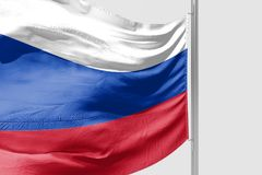 Isolerad Ryssland flagga som vinkar realistiskt tyg 3d Royaltyfri Fotografi