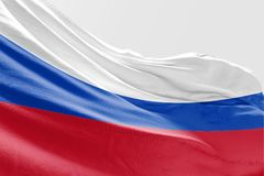 Isolerad Ryssland flagga som vinkar realistiskt tyg 3d Arkivbilder