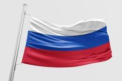 Isolerad Ryssland flagga som vinkar realistiskt tyg 3d Arkivfoto
