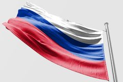 Isolerad Ryssland flagga som vinkar realistiskt tyg 3d Fotografering för Bildbyråer