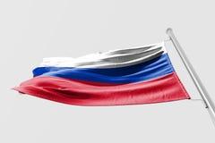 Isolerad Ryssland flagga som vinkar realistiskt tyg 3d Royaltyfria Bilder