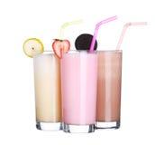 Isolerad samling för uppsättning för glass för milkshakechokladanstrykning arkivbilder