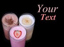 Isolerad samling för uppsättning för glass för milkshakechokladanstrykning arkivbild