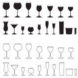 isolerad set white för bakgrund 3d glass illustration Stemware för olika drinkar 1 del silhouettes sportvektorn stock illustrationer
