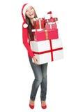 isolerad shoppa kvinna för jul gåvor Royaltyfri Fotografi