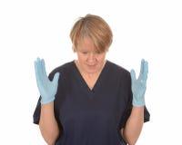 Isolerad sjuksköterska   Arkivbild