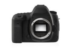 Isolerad SLR kamera på en vit Arkivfoton