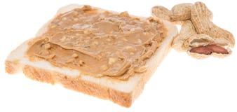 Isolerad smörgås för jordnötsmör Arkivbilder