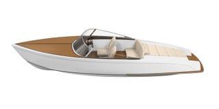 Isolerad snabb motorbåt royaltyfri illustrationer