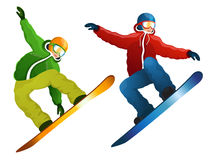 Isolerad snowboarder Royaltyfri Foto