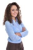 Isolerad stående av en ung affärskvinna för en kandidatur eller royaltyfri foto