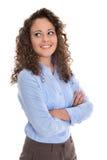 Isolerad stående av en ung affärskvinna för en kandidatur eller royaltyfri fotografi