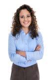 Isolerad stående av en ung affärskvinna för en kandidatur eller arkivfoton