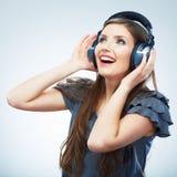 Isolerad stående för musik kvinna Kvinnlig isolerad modellstudio Fotografering för Bildbyråer