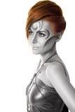 isolerad ståendekvinna för konst härlig huvuddel arkivbild